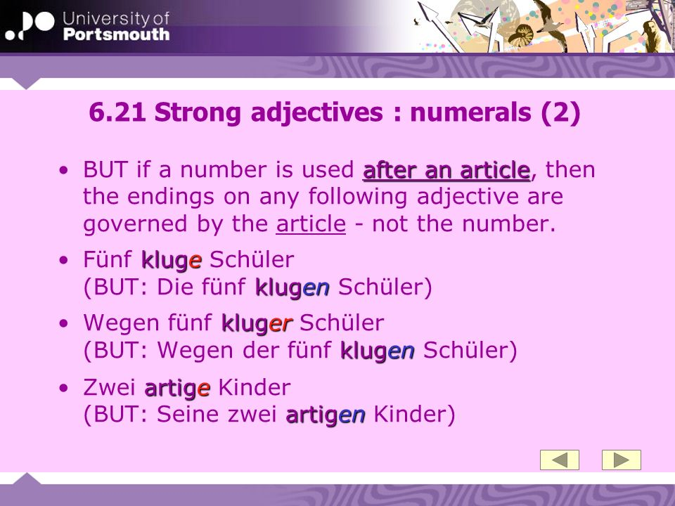 6.21 Strong adjectives : numerals (2)
