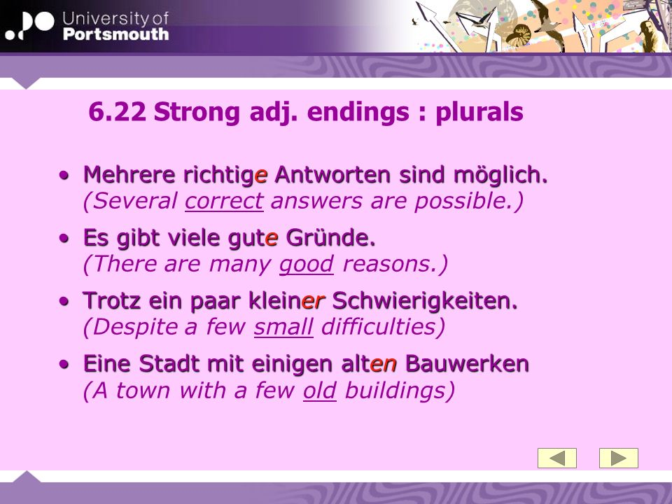 6.22 Strong adj. endings : plurals