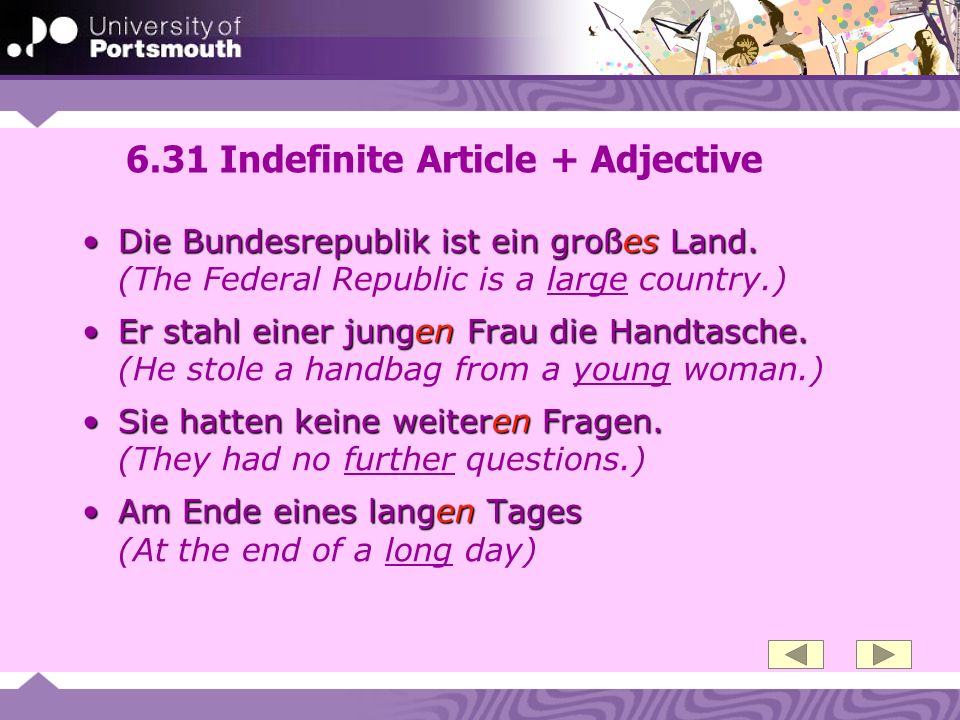 6.31 Indefinite Article + Adjective