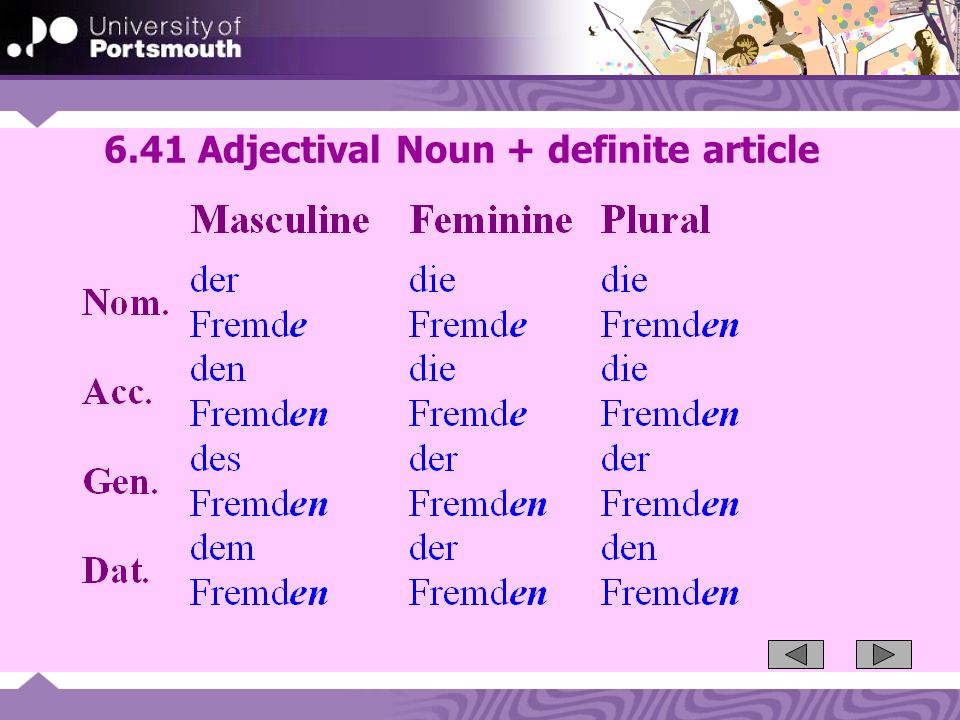 6.41 Adjectival Noun + definite article