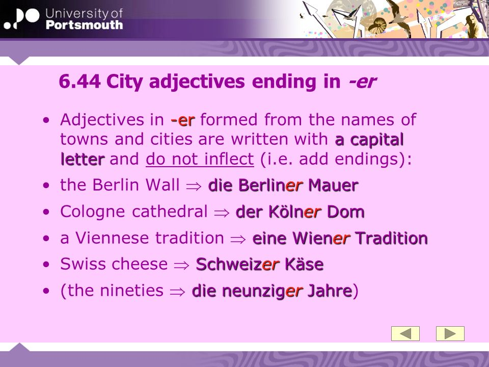 6.44 City adjectives ending in -er