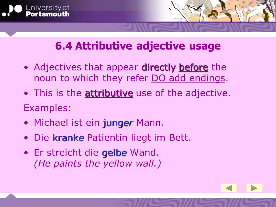 6.4 Attributive adjective usage