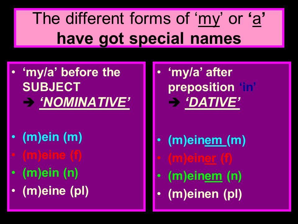 The different forms of 'my' or 'a' have got special names