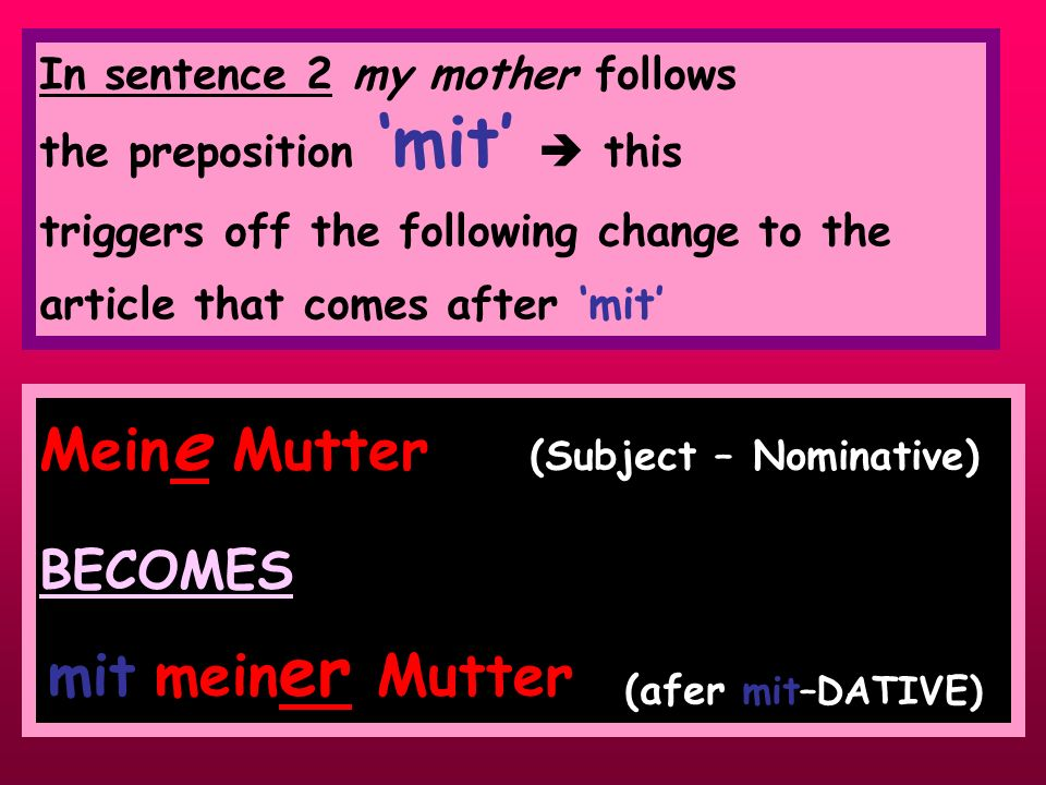 Meine Mutter (Subject – Nominative) BECOMES ' ' (afer mit–DATIVE)