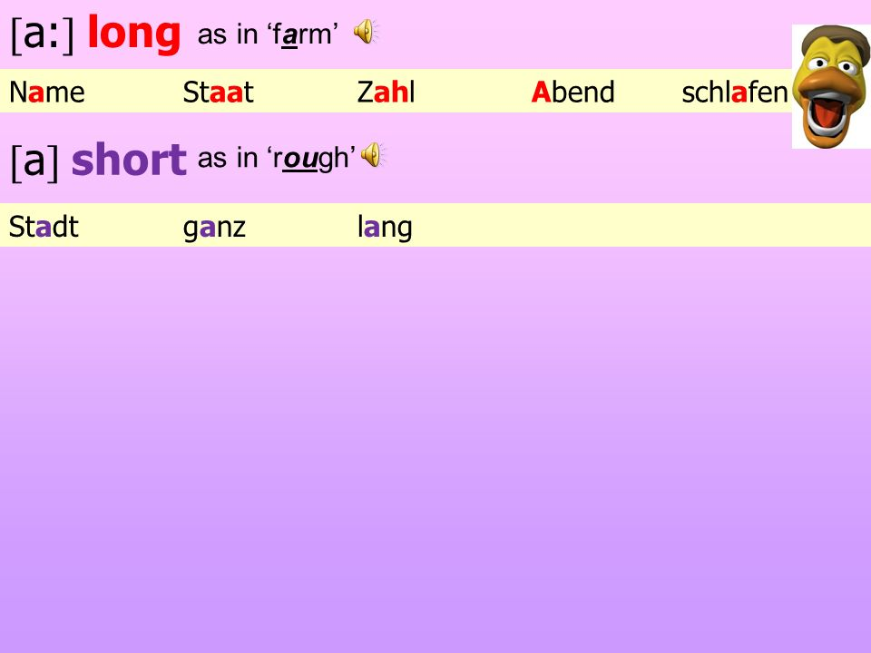 [a:] long [a] short as in 'farm' Name Staat Zahl Abend schlafen