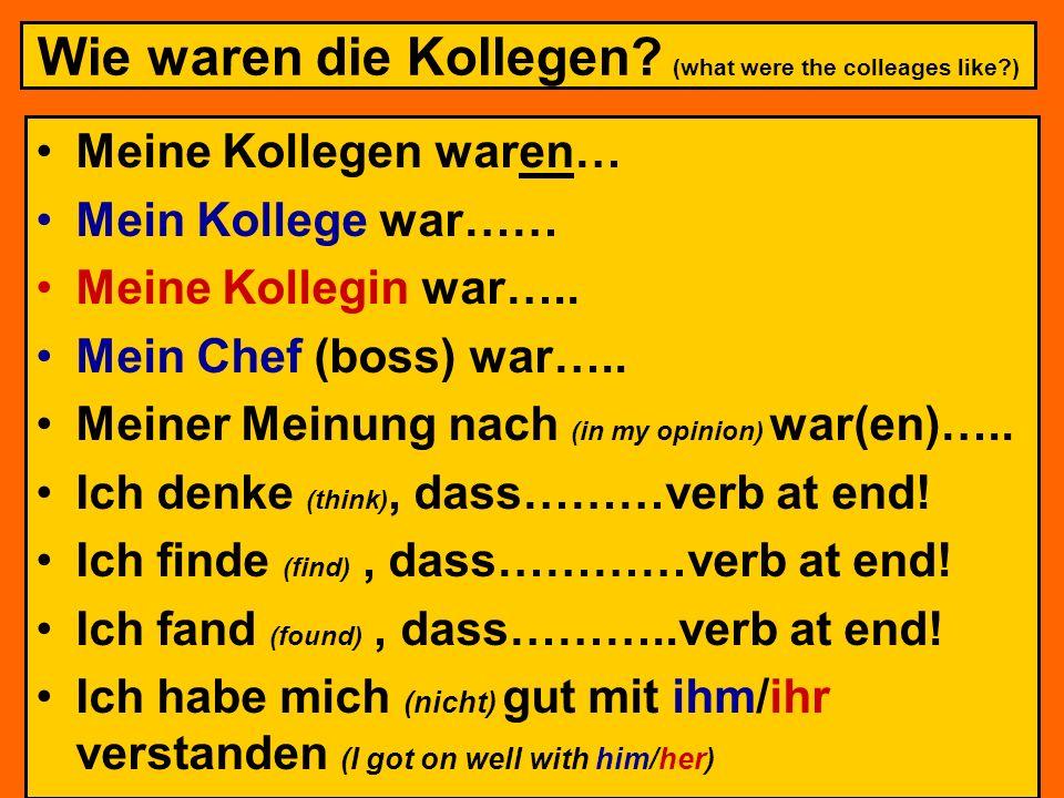 Wie waren die Kollegen (what were the colleages like )