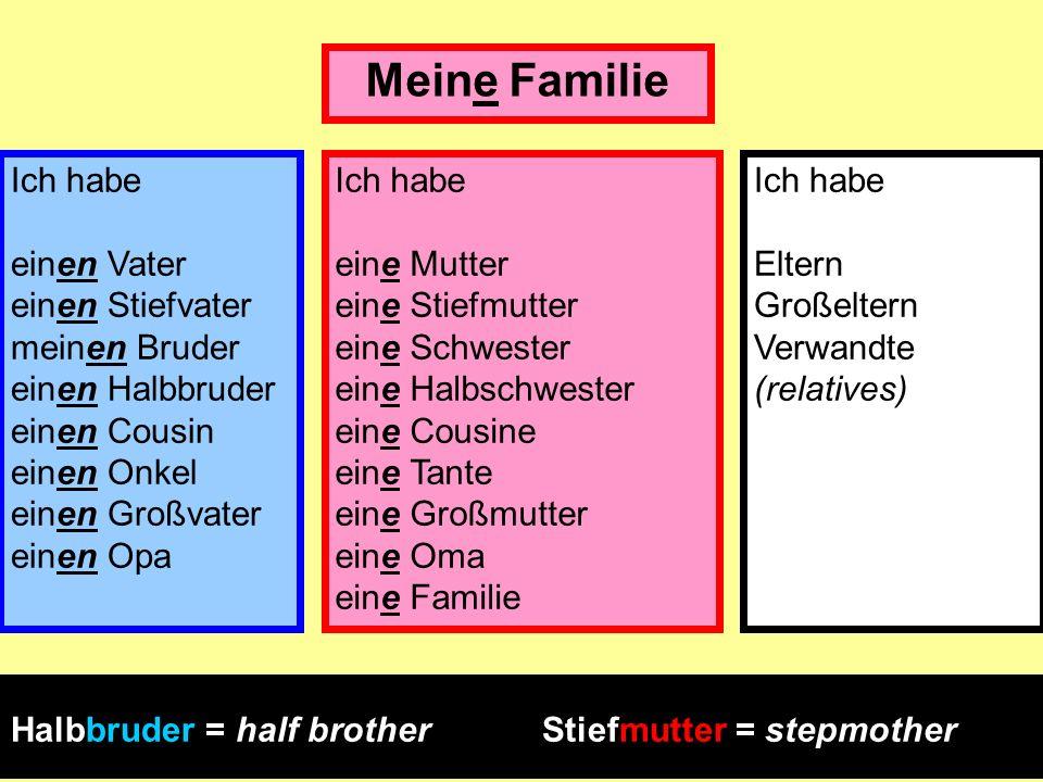 Meine Familie Ich habe einen Vater einen Stiefvater meinen Bruder einen Halbbruder einen Cousin einen Onkel einen Großvater einen Opa.