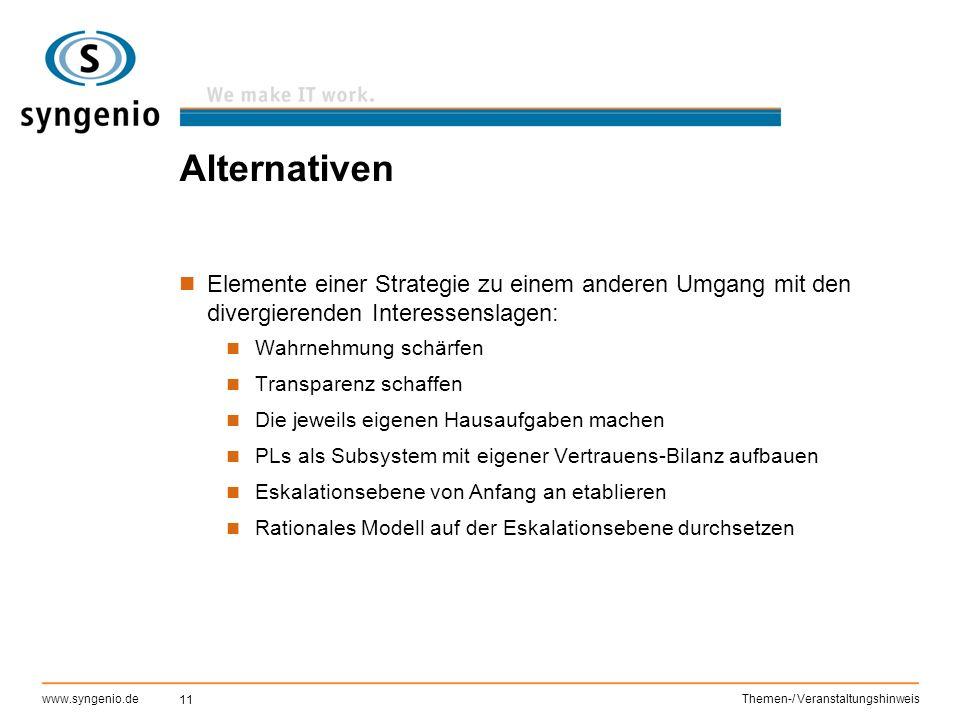 Alternativen Elemente einer Strategie zu einem anderen Umgang mit den divergierenden Interessenslagen: