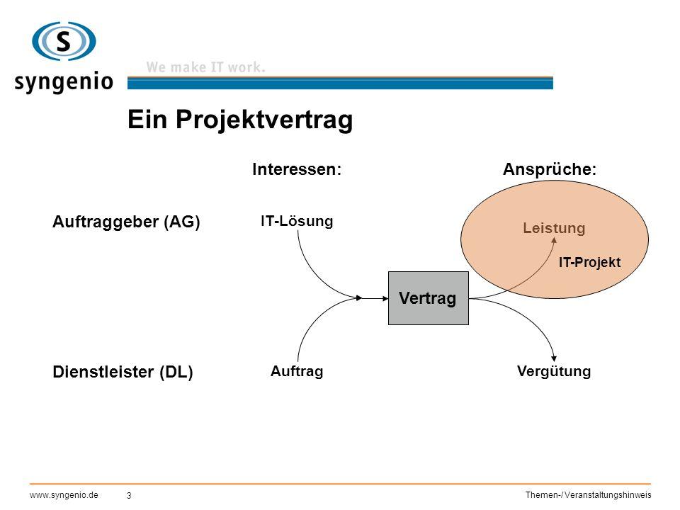 Ein Projektvertrag Interessen: Ansprüche: Auftraggeber (AG) Vertrag