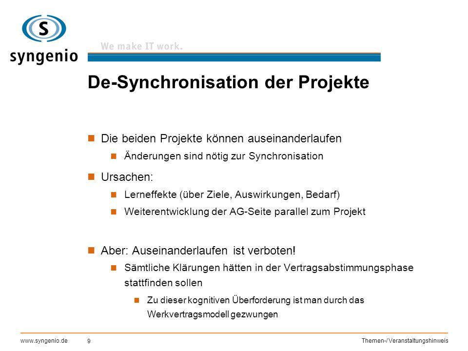 De-Synchronisation der Projekte