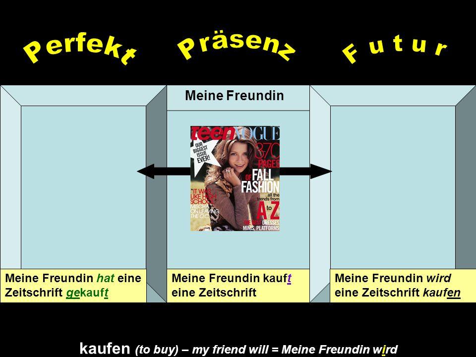 kaufen (to buy) – my friend will = Meine Freundin wird