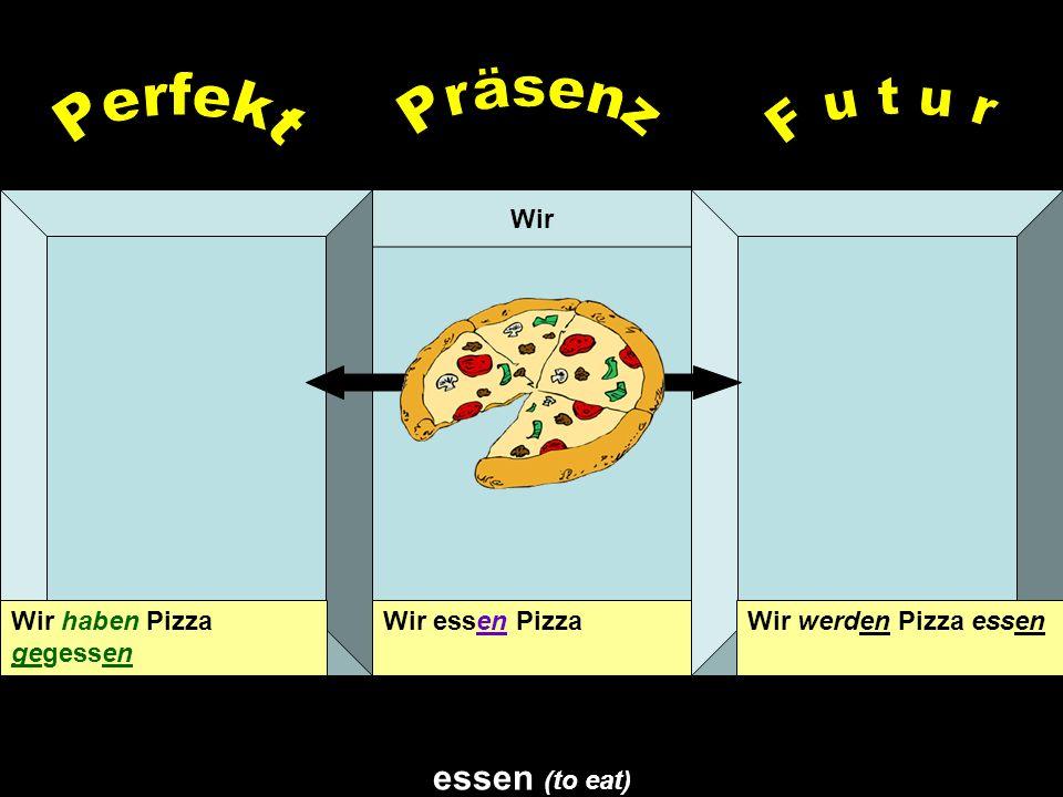 Präsenz Perfekt F u t u r essen (to eat) Wir Wir haben Pizza gegessen