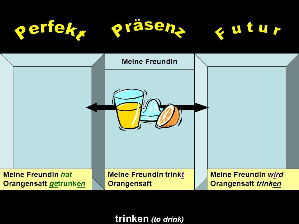 Präsenz Perfekt F u t u r trinken (to drink) Meine Freundin