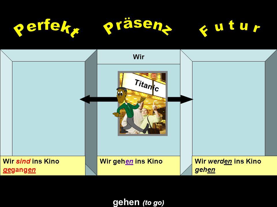 Präsenz Perfekt F u t u r gehen (to go) Titanic Wir