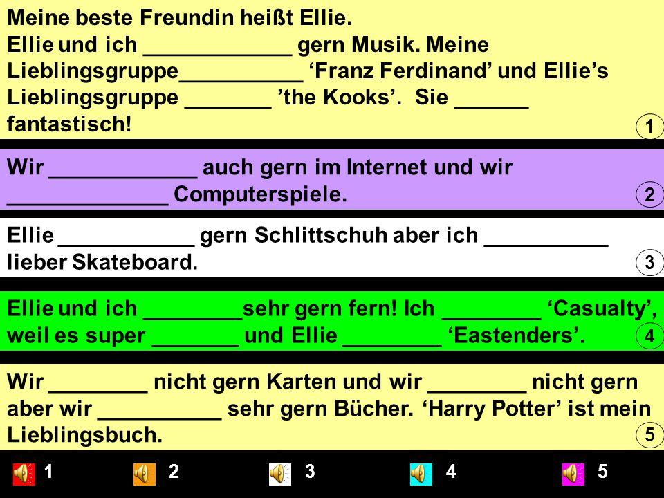 Meine beste Freundin heißt Ellie. Ellie und ich ____________ gern Musik. Meine Lieblingsgruppe__________ 'Franz Ferdinand' und Ellie's Lieblingsgruppe _______ 'the Kooks'. Sie ______ fantastisch!