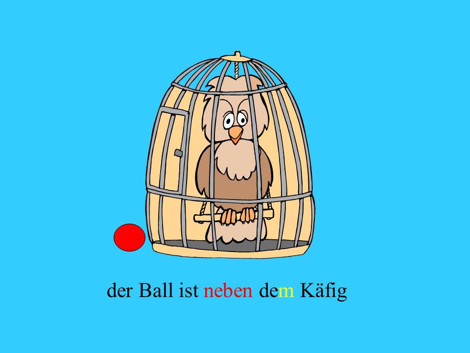 der Ball ist neben dem Käfig