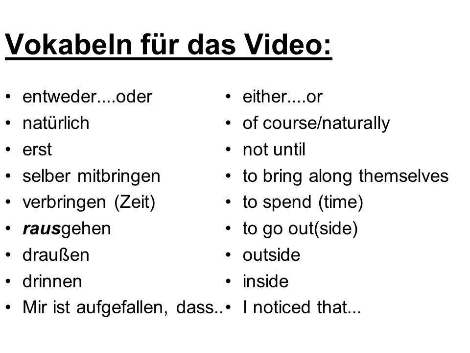 Vokabeln für das Video: