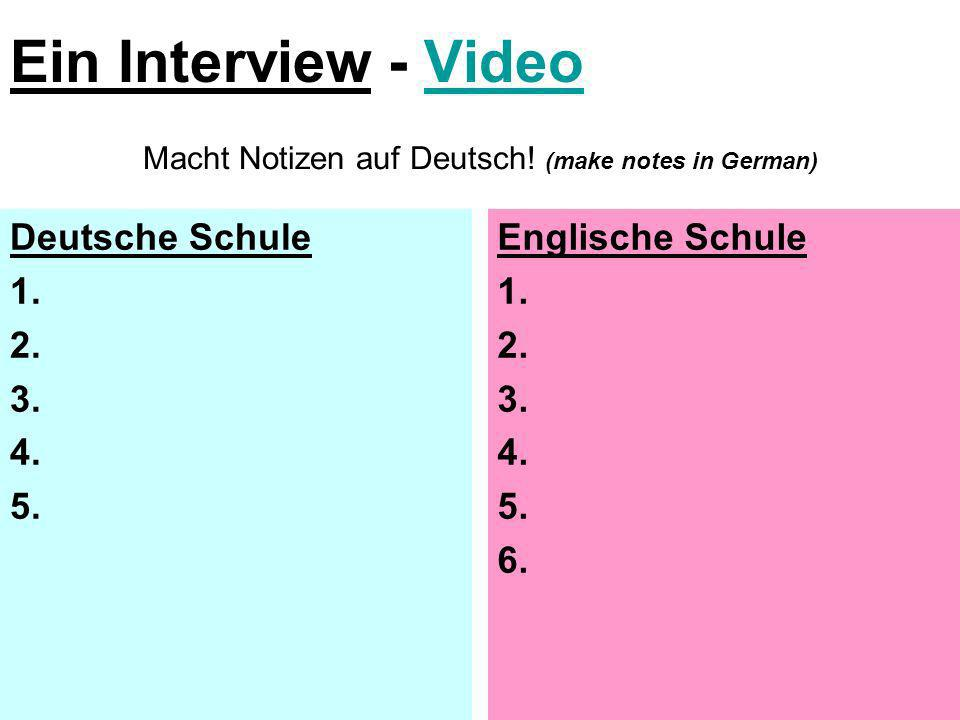 Macht Notizen auf Deutsch! (make notes in German)