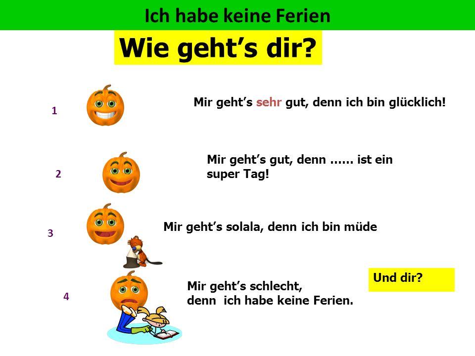 Wie geht's dir Wie sagt man 'holidays' auf Deutsch müde