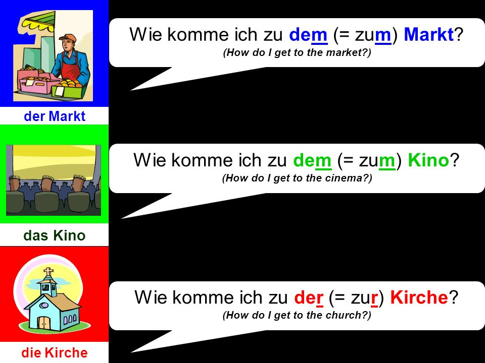 Wie komme ich zu dem (= zum) Markt (How do I get to the market )