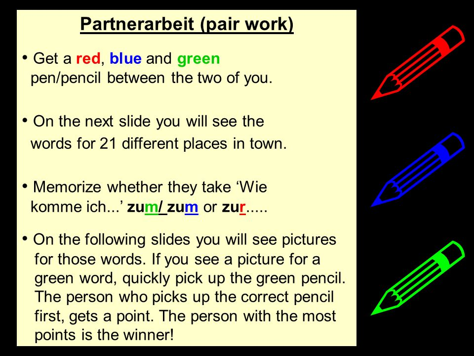 Partnerarbeit (pair work)