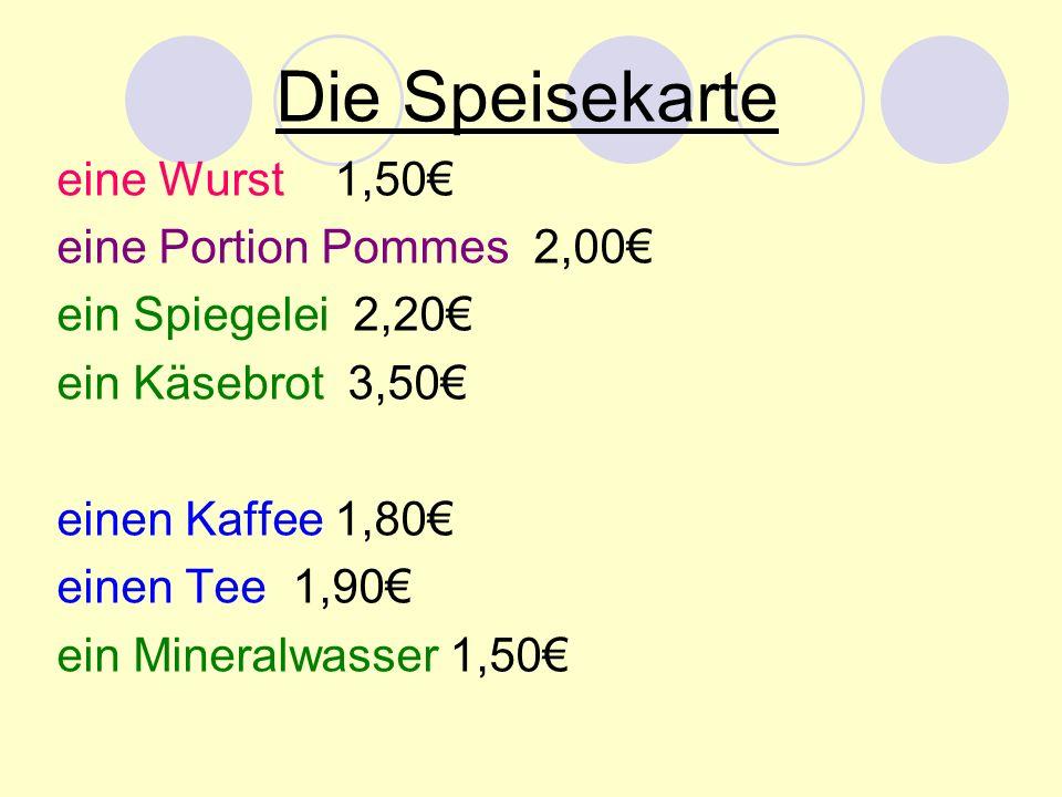 Die Speisekarte eine Wurst 1,50€ eine Portion Pommes 2,00€