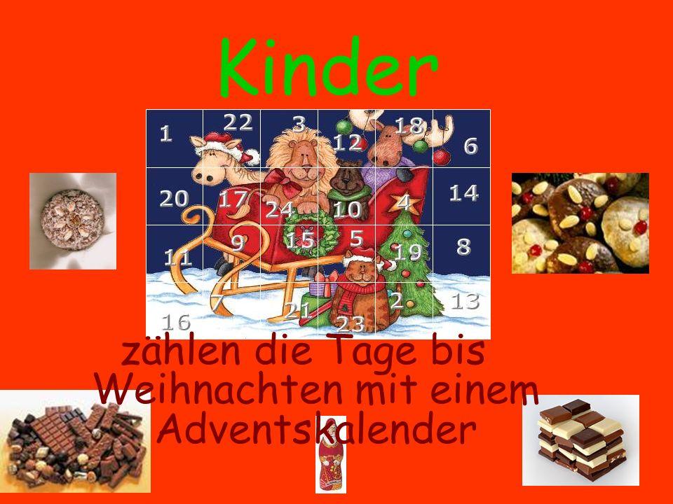 zählen die Tage bis Weihnachten mit einem Adventskalender