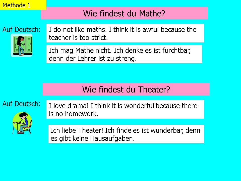 Wie findest du Mathe Wie findest du Theater Auf Deutsch: