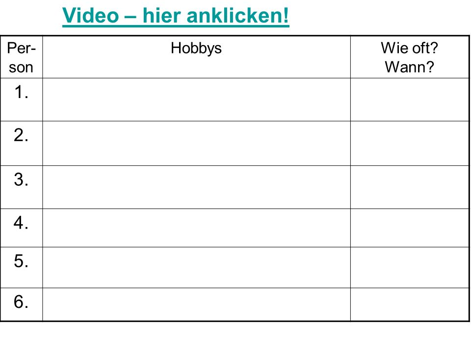 Video – hier anklicken! 1. 2. 3. 4. 5. 6. Per-son Hobbys