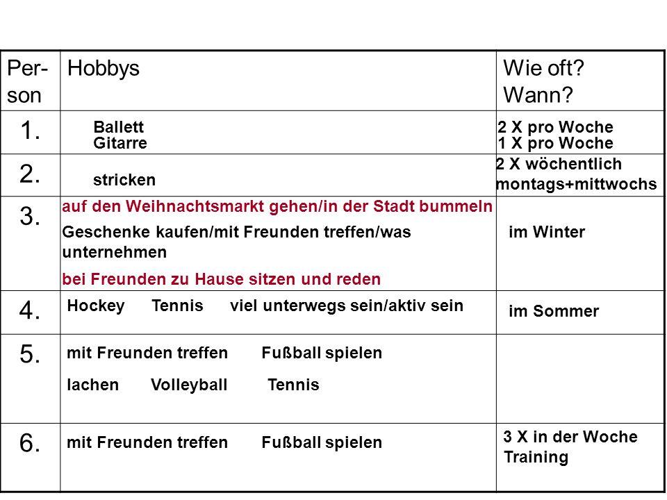 1. 2. 3. 4. 5. 6. Per-son Hobbys Wie oft Wann Ballett 2 X pro Woche