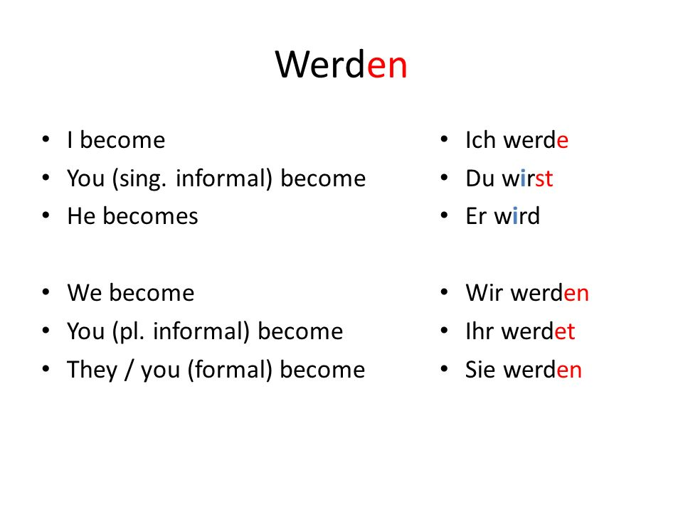 Werden I become You (sing. informal) become He becomes We become