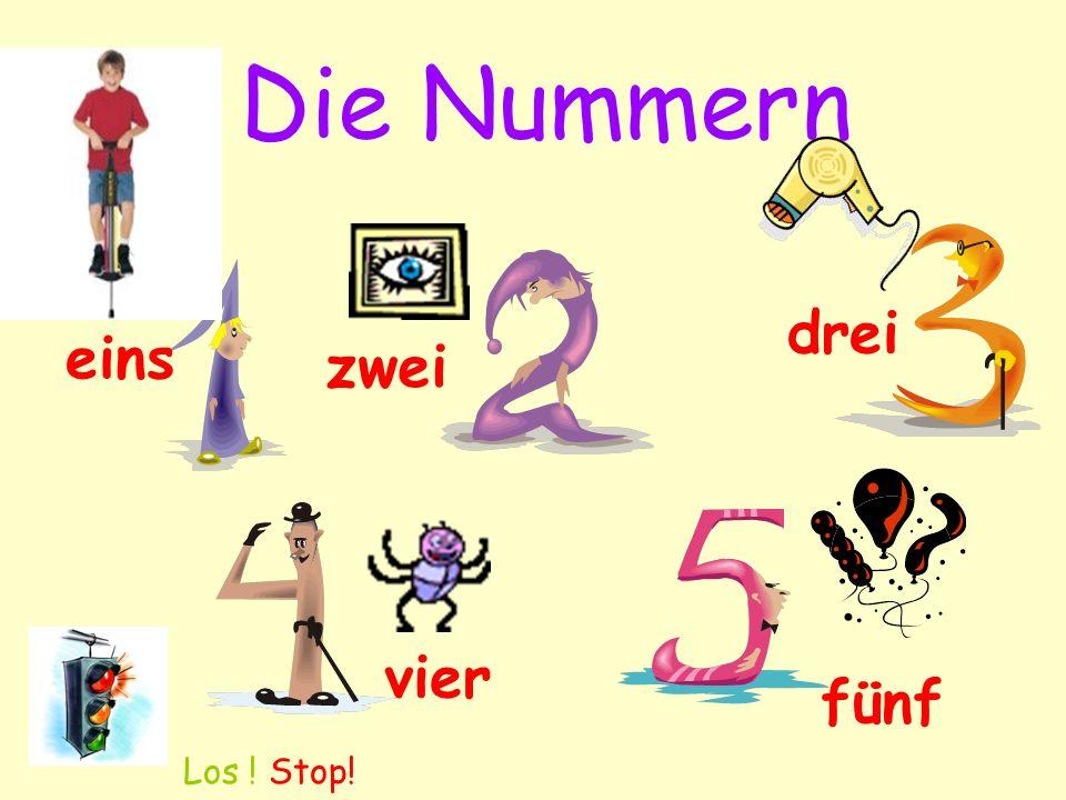 Die Nummern drei eins zwei vier fünf Los ! Stop!
