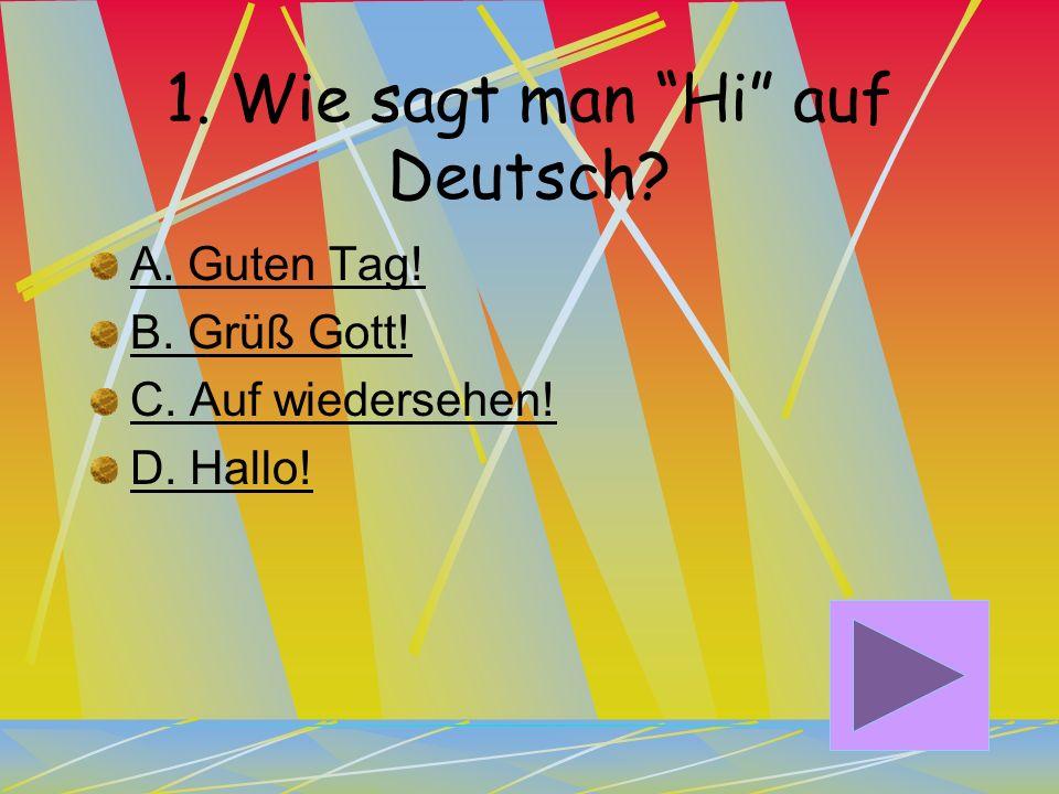 1. Wie sagt man Hi auf Deutsch