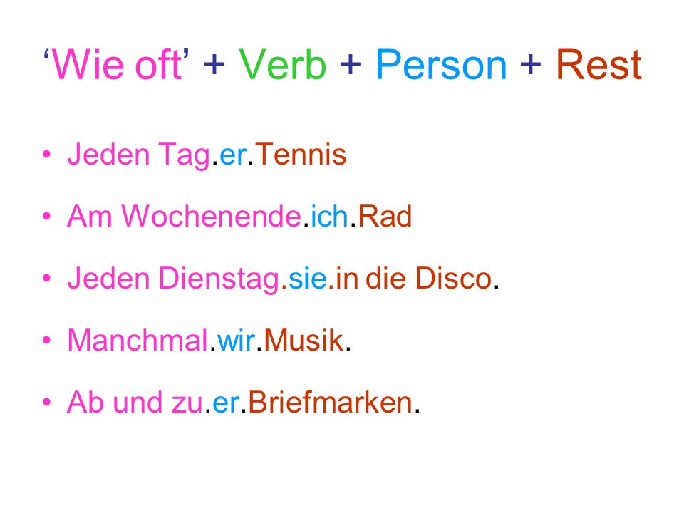 'Wie oft' + Verb + Person + Rest