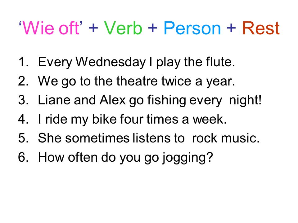 'Wie oft' + Verb + Person + Rest