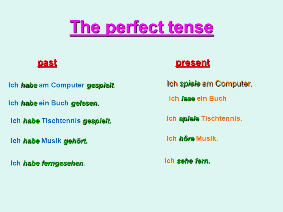 The perfect tense past present Ich spiele am Computer.