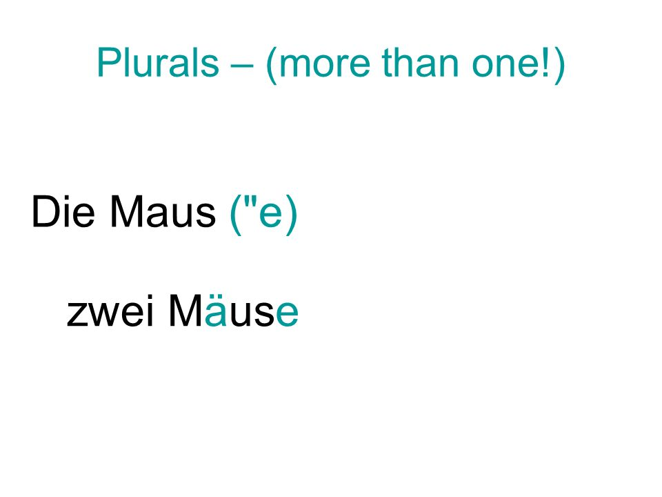 Plurals – (more than one!)