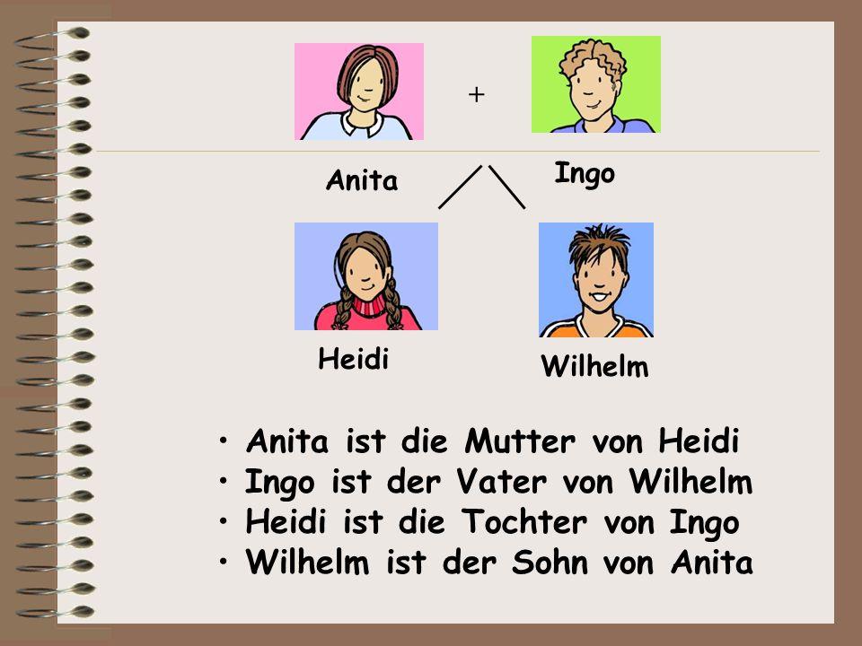 Anita ist die Mutter von Heidi Ingo ist der Vater von Wilhelm