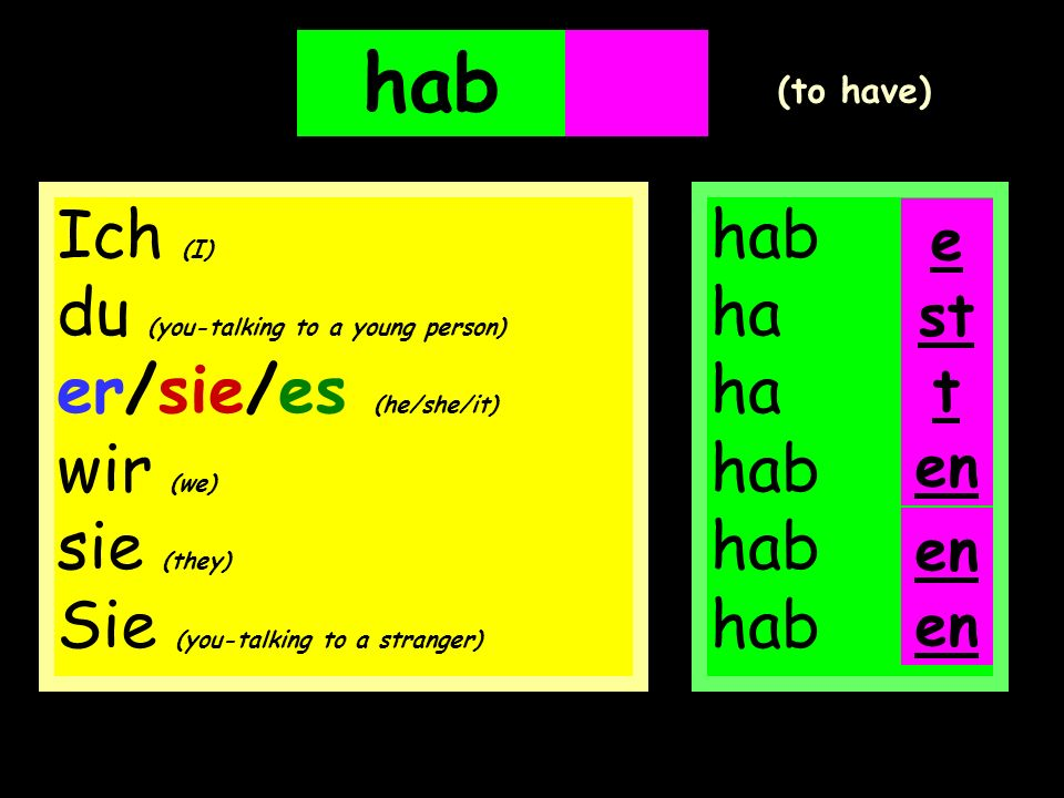 hab en. en. (to have) Ich (I) du (you-talking to a young person) er/sie/es (he/she/it) wir (we) sie (they) Sie (you-talking to a stranger)