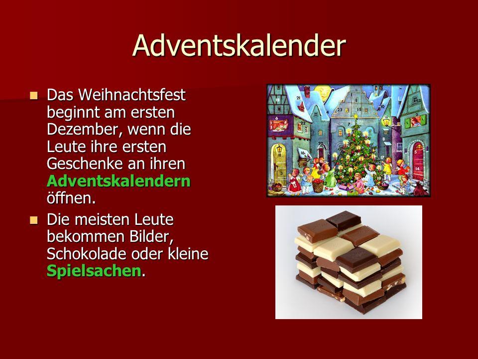 Adventskalender Das Weihnachtsfest beginnt am ersten Dezember, wenn die Leute ihre ersten Geschenke an ihren Adventskalendern öffnen.