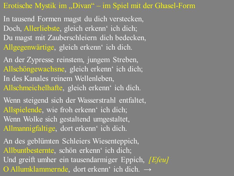 """Erotische Mystik im """"Divan – im Spiel mit der Ghasel-Form"""