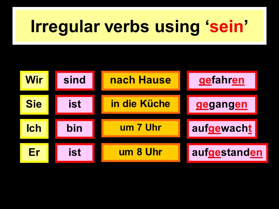 Irregular verbs using 'sein'