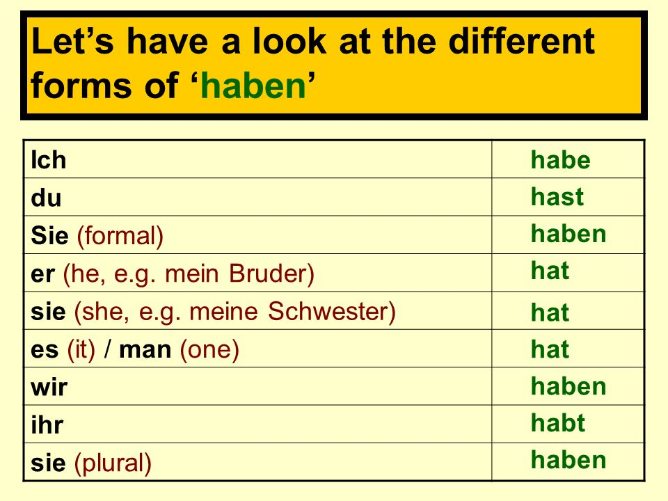 Let's have a look at the different forms of 'haben'