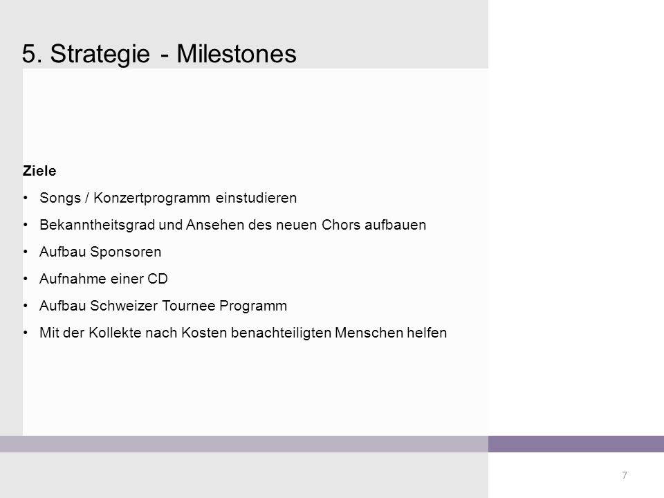 5. Strategie - Milestones