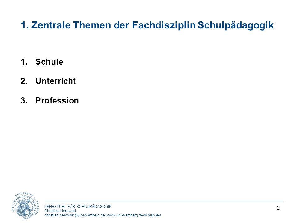 1. Zentrale Themen der Fachdisziplin Schulpädagogik