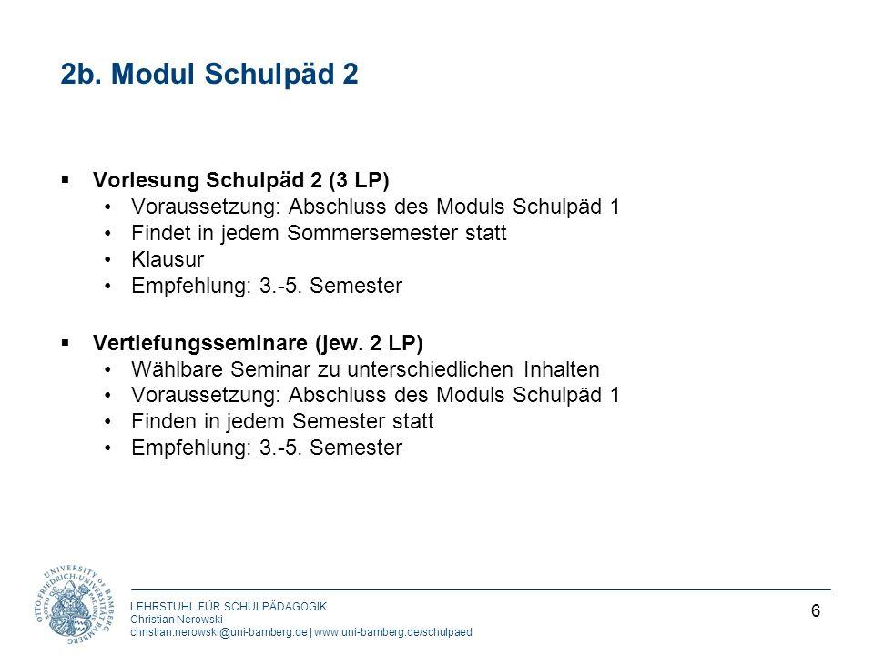 2b. Modul Schulpäd 2 Vorlesung Schulpäd 2 (3 LP)