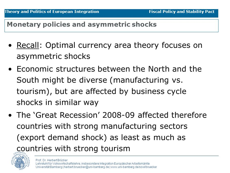 Monetary policies and asymmetric shocks