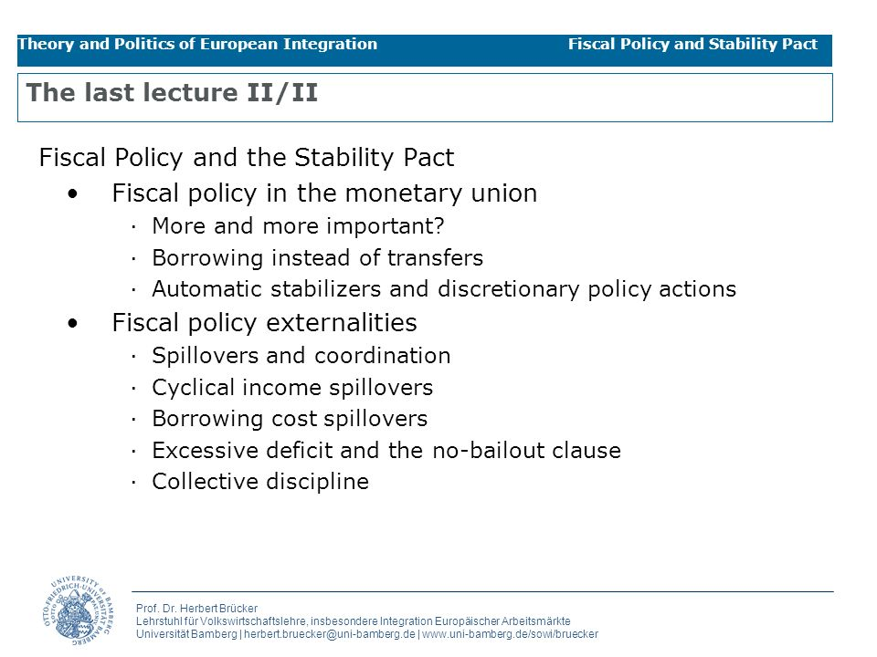 Fiscal Policy and the Stability Pact