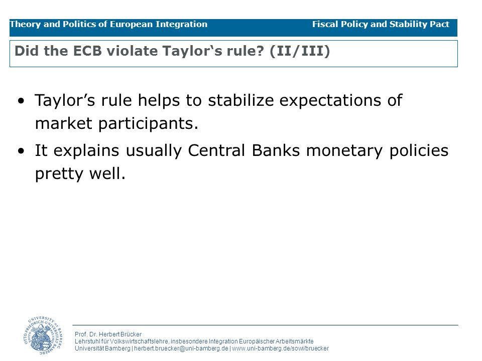 Did the ECB violate Taylor's rule (II/III)