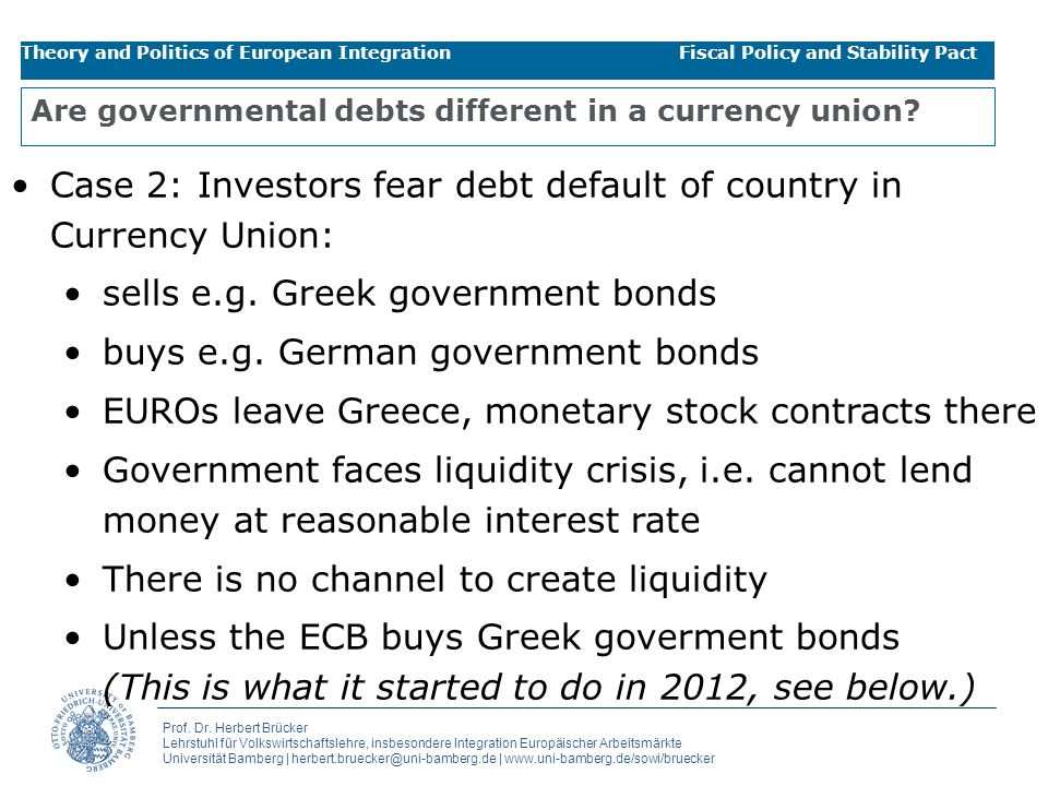 Are governmental debts different in a currency union